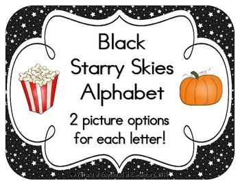 Black Starry Skies Alphabet Cards