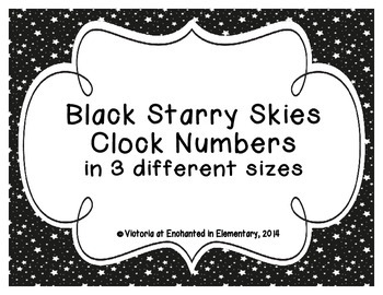 Black Starry Skies Clock Numbers