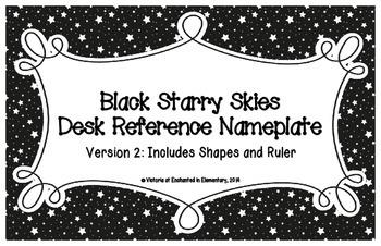 Black Starry Skies Desk Reference Nameplates Version 2
