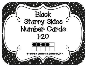 Black Starry Skies Number Cards 1-20