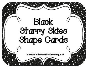 Black Starry Skies Shape Cards