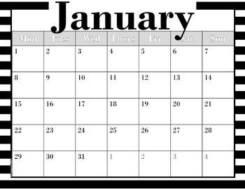 Calendar --Black Stripes & Low-Frills versions -- 2017-2018 dates -- No Clip Art
