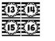 Black Stripe and Polka Dot Calendar Numbers