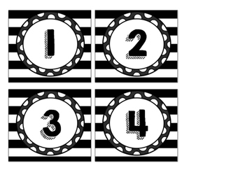 Black Stripe and Polka Dot Calendar Numbers