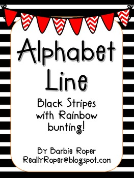 Black Stripes with Rainbow Bunting Alphabet Line