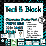 Classroom Theme Decor / Organization - Mega Bundle (Editable!) - Black & Teal