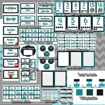 Classroom Theme Decor / Organization - Mega Bundle (Editable!) - Black & Teal