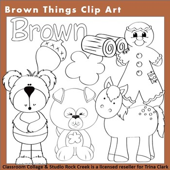 Brown Things Clip Art Line Drawing B/W  personal & commercial use T Clark