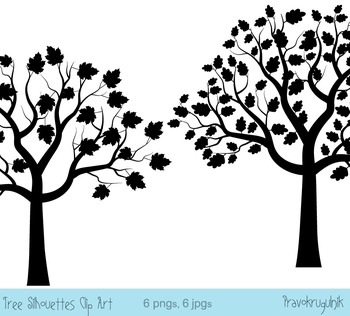 Black Tree Silhouette Clip Art, Digital Fingerprint Tree
