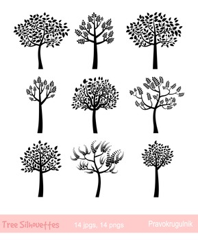 Black Tree Silhouettes Clipart, Trees with leaves silhouette, Fingerprint Tree