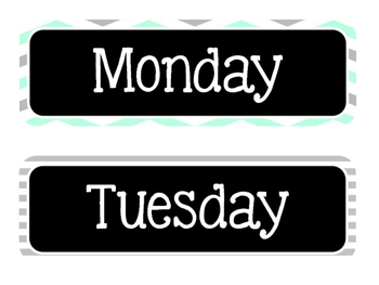 Black, Turquoise, & Grey Days of the Week