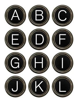 Black Typewriter Keys Digital Clipart Color