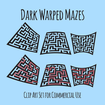 Black Warped Mazes Clip Art Set for Commercial Use