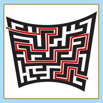 Black Warped Mazes Clip Art Set for Commercial Use