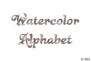 Black Watercolor Alphabet Clip Art Metallic Look 81 PNG Images Letters Numbers