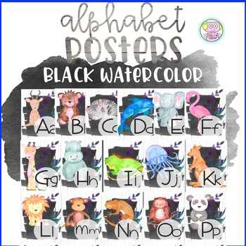 Black Watercolor Alphabet Posters
