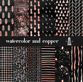 Black Watercolor And Copper Digital Paper, Hand Drawn Copper Patterns