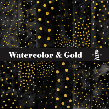Black Watercolor And Gold Confetti Papers, Black & Gold Watercolor Textur
