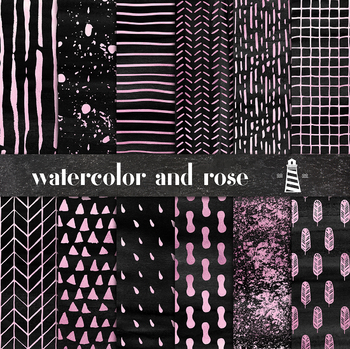 Black Watercolor And Rose Digital Paper, Hand Painted Rose Patterns