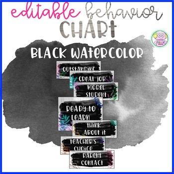 Black Watercolor Behavior Clip Chart (Editable)