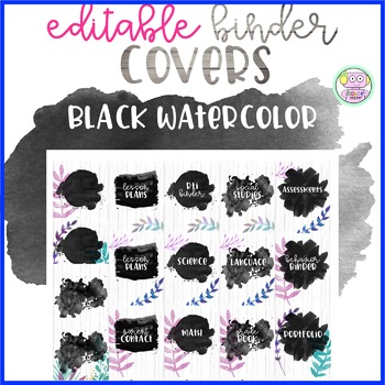 Black Watercolor Binder Covers (Editable)