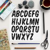 Black Watercolor Font, Black Alphabet, Black Letter ABC's Images