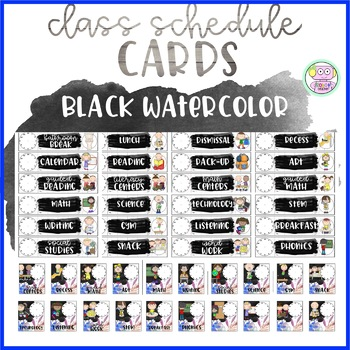Black Watercolor Schedule Cards (Editable)