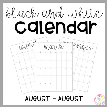 Black & White 2018/2019 Calendar