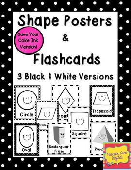 Black & White 2D and 3D Shape Posters & Flash Cards {Print Friendly Version}