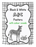 Black & White ABC Posters with Colour Vowels
