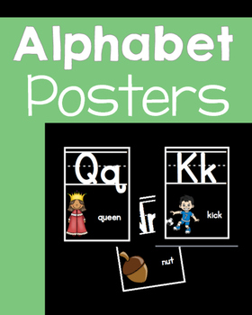 Black & White  ALPHABET POSTERS with words