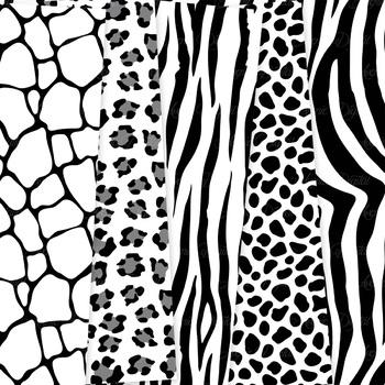 Black & White Animal Print Digital Paper safari scrapbook background leopard