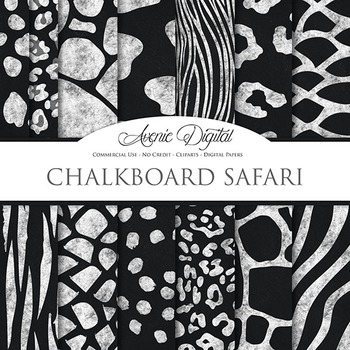 Black White Animal Print Chalkboard Digital Paper Safari Scrapbook Background