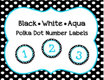 Black, White, Aqua Polka Dot Student Number Labels