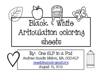 Black & White Articulation coloring sheets