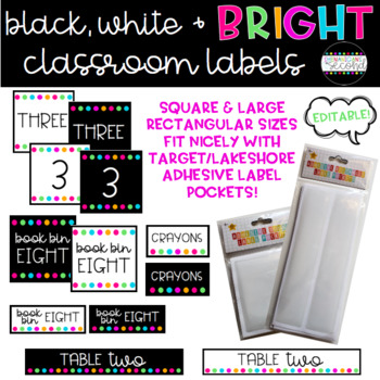 Black, White & BRIGHT Classroom Labels - Editable