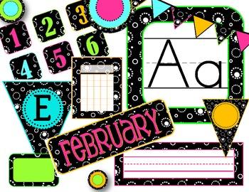 Black & White & Bright Classroom Decor Pack--Now Editable!