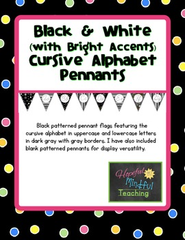 Black White & Bright Cursive Alphabet Pennants