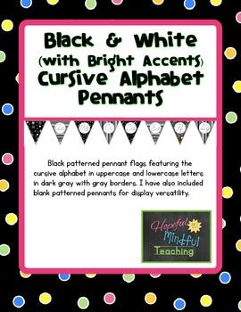Black White & Bright Cursive Alphabet Pennants