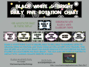 Black White & Bright Daily 5 Rotation Chart