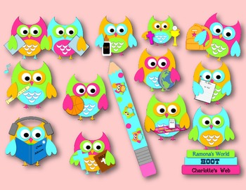 Black & White & Bright OWL School Owls Clip Art For Personal/Commercial Use