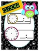 Black & White & Bright Owl Daily Schedule Cards--Customizable