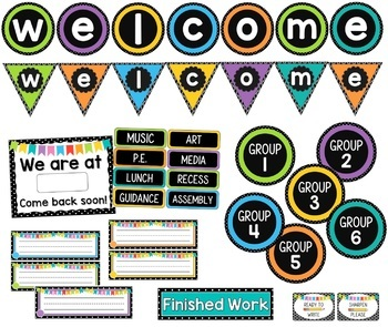 Black and White Polka Dot Theme Classroom Decor