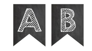 Black & White Chalkboard Letter Banner