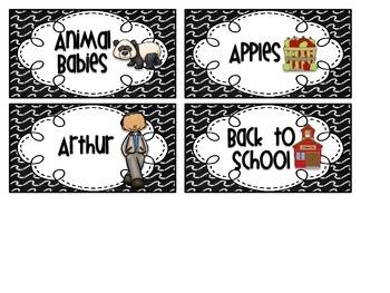 Black & White Chalkboard Theme Library Labels