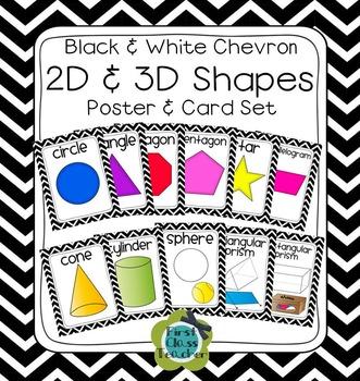 Black & White Chevron Plane & Solid Shapes Poster Set (Math, Geometry)