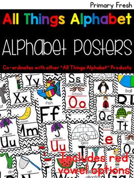 All Things Alphabet: Black & White Chevron Alphabet Posters
