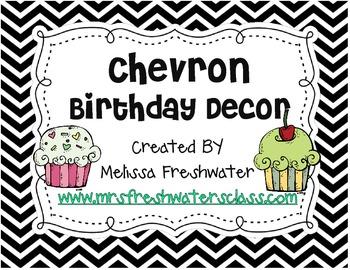 Black & White Chevron Birthday Decor
