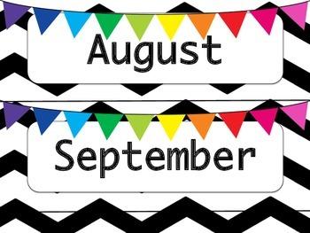 Black & White Chevron Calendar Months