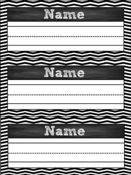 Black & White Chevron & Chalk Classroom Pack